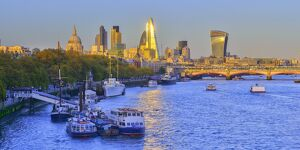 UK, England, London, City of London Skyline and River Thames