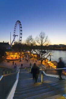 UK, England, London, The Southbank, Christmas Market and London Eye