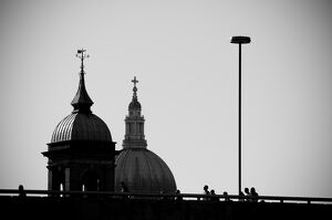 UK, London, Canon Street Station and St. Paul's Cathedral beyond
