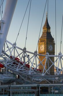 UK, London, Houses of Parliament, Big Ben through London Eye