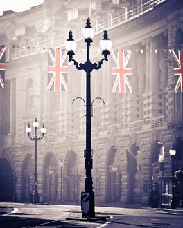 UK. London. Regent Street. Union Jack decorations for Royal Wedding.