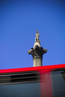UK, London, Trafalgar Square, Nelson's Column, Double Decker Bus