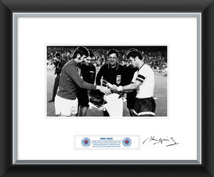special edition signed memorabilia/john greig signed framed print exchanging pennants