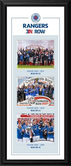 Rangers SPL Champions 3 in a Row Montage Framed Print