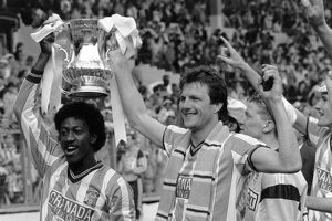 (L-R) Coventry City's goalscorers Dave Bennett and Keith Houchen celebrate with