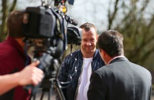 Charlie Adam visits St Giles Catholic Primary School in Cheadle