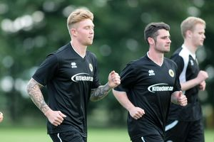 Conor Marshall (front) and Jamie McGhee are put through their paces during Boston