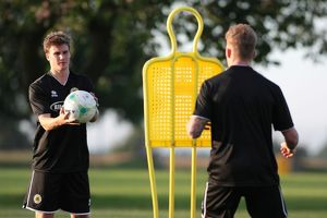 Dayle Southwell (left) and Conor Marshall during Boston United's first pre season