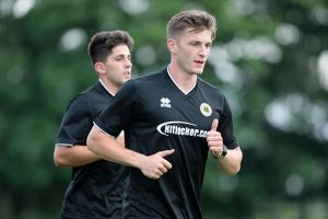 Defender Stefan Galinski during Boston United's first pre season training session
