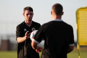 Jamie McGhee during Boston United's first pre season training session in preparation