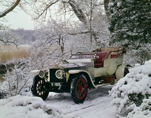 1909 Rolls Royce Silver Ghost in snow at Beaulieu