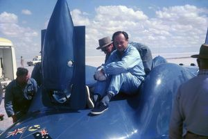 Donald Campbell at Lake Eyre 1963 on Bluebird