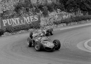 Ferrari 156 Sharknose, Phil Hill leads Richie Ginther through hairpin, 1961 Monaco