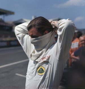 Graham Hill prepares for the 1967 French Grand Prix