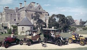 Group of Veteran and Vintage cars outsside Palace House, Beaulieu.