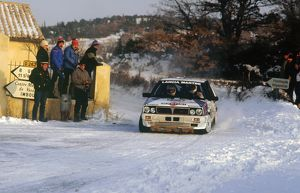 Juha Kankkunen in Lancia Delta HF during 1987 Monte Carlo Rally.