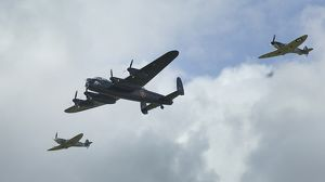 Lancaster Bomber with 2 Spitfire Fighter planes, 2011 Goodwood revival