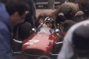 Mechanics work on John Surtees Ferrari