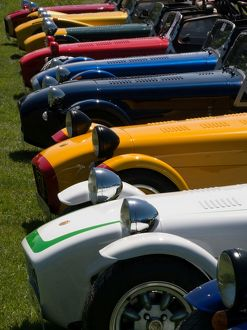 Row of Caterham Sevens at club meeting event