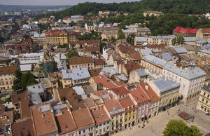Aerial from above shot from City Hall tower of the beautiful city of Lviv Ukraine
