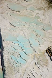 Aerial view of the travertine rocks and pools, Pamukkale (ancient Hierapolis), Turkey