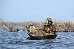 Africa, Benin, Ganvie. Tofinu tribe village on the waters of Lake Nokoue, only accessible