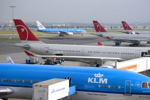 Airplanes at Schiphol Airport in Amsterdam, Netherlands