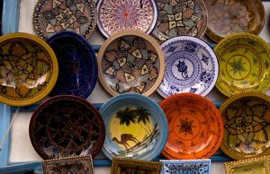 Artwork plates for sale in Medina area of Tunis in Tunisia of Northern Africa
