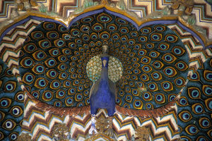 Asia, India, Jaipur. Archtiectural detail of Peacock Gate at Jaipur Palace