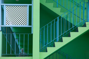 BARBADOS, Rockley, Hotel Staircase Detail, Rockley Beach