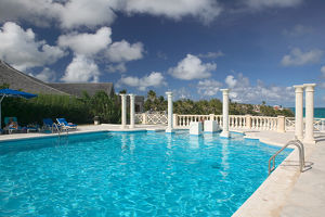 BARBADOS, South East Coast-Crane Beach, View of Crane Beach Hotel Pool