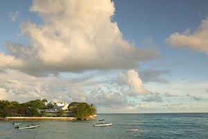 BARBADOS, St. Lawrence Gap, Sunset View of Little Bay