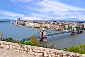 Budapest, Hungary, Scenic view of the Danube River and the Hungarian parliament building