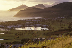 Caribbean, St. Kitts. North Frigate Bay golf course and hotels at sunrise