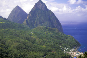 caribbean st lucia soufriere morning view