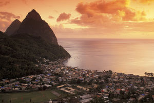 caribbean st lucia soufriere sunset view pitons