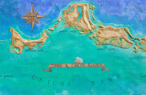 Caribbean, TURKS & CAICOS-Providenciales island-Grace Bay: Mural Map of Turks