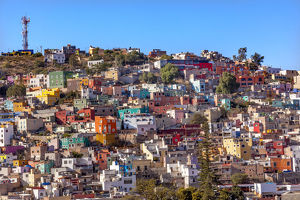 Many Colored Orange Blue Red Houses of Guanajuato Mexico