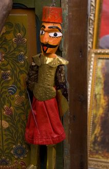 Colorful puppets for sale in Medina area of Tunis in Tunisia of Northern Africa