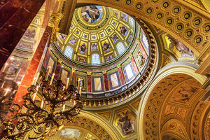 Dome God Christ Basilica Arch Saint Stephens Cathedral Budapest Hungary