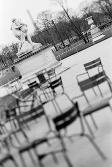 Europe, France, Paris. Chairs, Jardin du Luxembourg