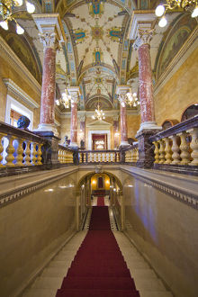 Europe, Hungary, Budapest. Interior ceiling and stairway of Parliament Building. Credit as