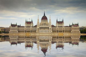 Europe, Hungary, Budapest. Parliament Building on Danube River