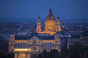 Europe, Hungary, Budapest. St. Stephena€™s Cathedral lit at night
