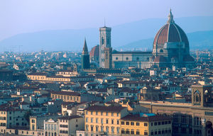 Europe, Italy, Florence. Cityscape with The Duomo dominating the skyline