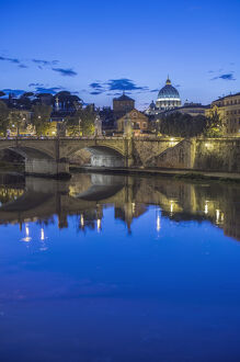 Europe, Italy, Rome, Tiber River and Ponte Vittorio Emanuele with St