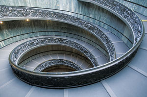 Europe, Italy, Rome, Vatican City. Musei Vaticani, main entrance staircase