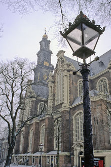 Europe, The Netherlands, Amsterdam. Amsterdam city scene in winter snow