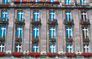 Flower window boxes on hotel at Cologne, Germany. flower, windowbox, planter