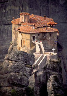places/greece meteora christian monastery cliff